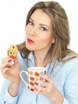 woman eating biscuit